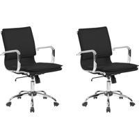 Conjunto Com 2 Cadeiras De Escritório Diretor Giratórias Eames Comfort Preto