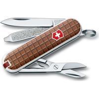 "Canivete Classic ""Chocolate""- Inox & Marrom- 5,8Cm"