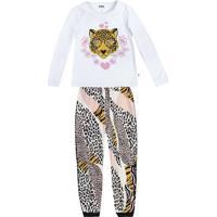 Pijama Onã§A Pintada- Branco & Preto- Teen- Pucpuc