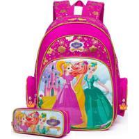 Kit Escolar Infantil Mochila + Estojo Spector Princesa - Feminino-Rosa