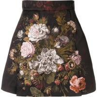 Dolce & Gabbana Saia De Jacquard Com Estampa Floral - Preto