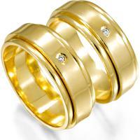 Aliança De Ouro Bicolor Com Diamante - As0466 Casa Das Alianças