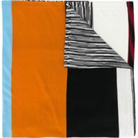 Missoni Echarpe Color Block Com Listras - Branco
