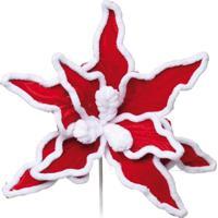 Flor Artificial Decoração Natal Poinsetia Veludo Vermelha