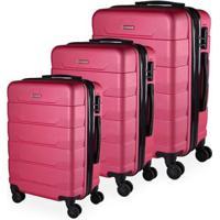 Conjunto 3 Malas De Viagem Com Zíper Expansível Pequim Em Abs Portinari Giro 360º - Unissex-Pink
