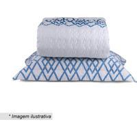 Conjunto De Colcha Blue Queen Size- Branco & Azul- 3Sultan