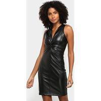 Vestido Acostamento Tubinho Curto - Feminino-Preto