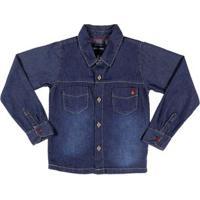 Camisa Jeans Manga Longa Juvenil Para Menino - Azul