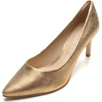 Scarpin Couro Capodarte Metalizado Dourado