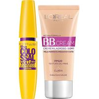 Kit Máscara De Cílios Maybelline Colossal Lavável + Bb Cream L'Oreál Paris Clara - Feminino-Preto