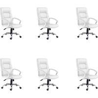 Conjunto Com 6 Cadeiras De Escritório Presidente Office Plus Branco