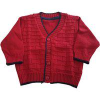 Casaco Quadriculado De Lã Tricô Kids Vermelho