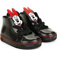 Tênis Infantil Grendene Kids Cano Alto Minnie Mickey - Feminino-Preto