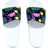 Chinelo Dawae Slide Tropical Flamingo Feminino - Feminino-Branco