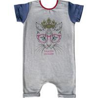 Macacão Infantil Curto Comfy Cat - Unissex-Cinza