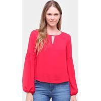 Blusa Morena Rosa Manga Longa Decote Redondo Feminina - Feminino-Vermelho