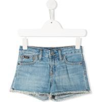 Ralph Lauren Kids Short Jeans Com Franjas - Azul
