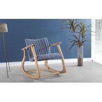 Poltrona Design De Balanço Smith Metalassê 65X83X72Cm - Verniz Amêndoa \ Tec.930 - Azul Claro