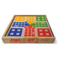 Brinquedo Educativo Jogo 4 Em 1 Damas Trilha Ludo Domino