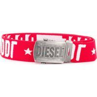 Diesel Kids Cinto Com Estampa De Logo - Vermelho