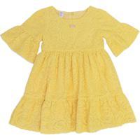 Vestido Gira Baby Kids Infantil Renda Amarelo