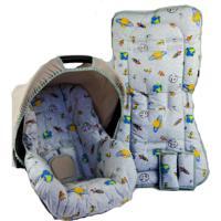 Conjunto Capa De Bebê Conforto E Capa De Carrinho Alan Pierre Baby 0 A 13 Kg - Foguete Cinza