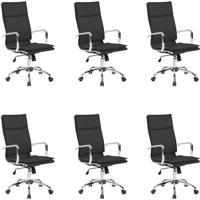 Conjunto Com 6 Cadeiras De Escritório Presidente Giratórias Eames Comfort Preto