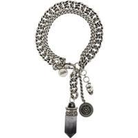 Alexander Mcqueen Double Chain Quartz Detail Bracelet - Prateado