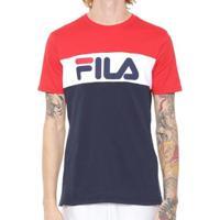 Camiseta Fila Letters Colors Masculino - Masculino-Azul