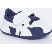 Tênis Com Elástico & Velcro- Branco & Azul Marinhotico Baby