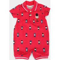 Macacão Bebê Milon Banho De Sol Estampado Masculino - Masculino-Vermelho
