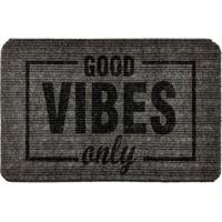 """Capacho Antiderrapante """"Good Vibes Only""""- Cinza Escuro &Wevans"""