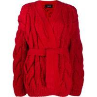Dsquared2 Oversized Chunky Knit Cardigan - Vermelho