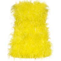 Attico Vestido Rosie Com Aplicação De Plumas - Amarelo