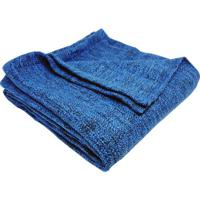 Manta Texturizada- Azul Escuro & Preta- 125X150Cm