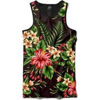 Camiseta Bsc Regata Flowers Leaves Full Print - Masculino-Preto