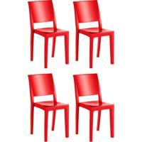 Conjunto Com 4 Cadeiras De Plástico Hydra Vermelho