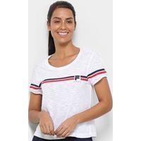 Camiseta Fila Stripe Feminina - Feminino-Branco