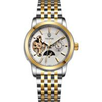 Relógio Tevise 8408 Masculino Automático Pulseira De Aço Inoxidável - Branco E Dourado