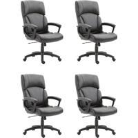 Conjunto Com 4 Cadeiras De Escritório Presidente Otho Preto