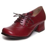 Sapato Vintage Em Couro Vermelho - Amora 7620