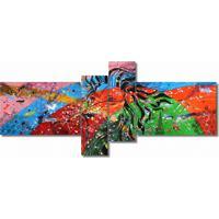 Quadro Painel Decorativo Leão Abstrato 4 Peças Az/Rs/Vd/Lr