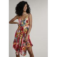 Vestido Feminino Curto Assimétrico Estampado Floral Alça Média Coral