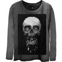 Camiseta Estonada Manga Longa Skull Death