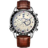 Relógio Tevise 671A Masculino Automático Pulseira Couro Marrom - Branco