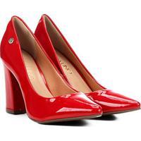 Scarpin Via Uno Salto Alto Verniz - Feminino-Vermelho