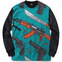 Blusa Bsc Weapon And Knife Full Print - Masculino-Preto