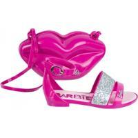 Sandália Infantil Grendene Barbie Pop Glan C/ Bolsa 21365 - Feminino