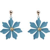 Brinco Promocao 50% Metal Flor Dourado Beian Azul