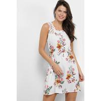 Vestido Curto Efa Renda Amarração Floral - Feminino-Branco+Amarelo
